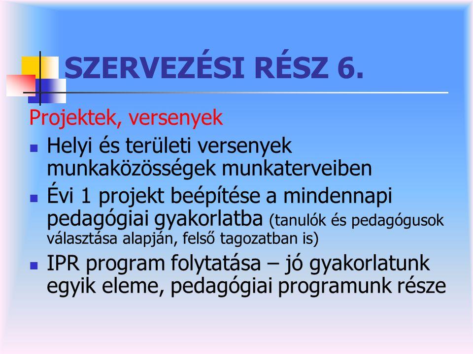 SZERVEZÉSI RÉSZ 6. Projektek, versenyek