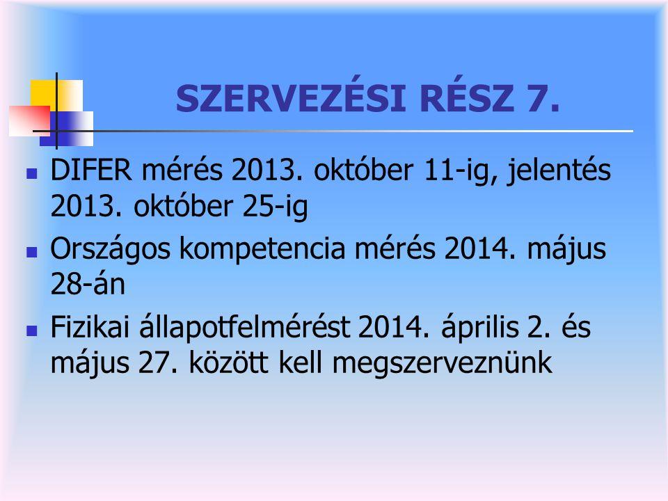 SZERVEZÉSI RÉSZ 7. DIFER mérés 2013. október 11-ig, jelentés 2013. október 25-ig. Országos kompetencia mérés 2014. május 28-án.