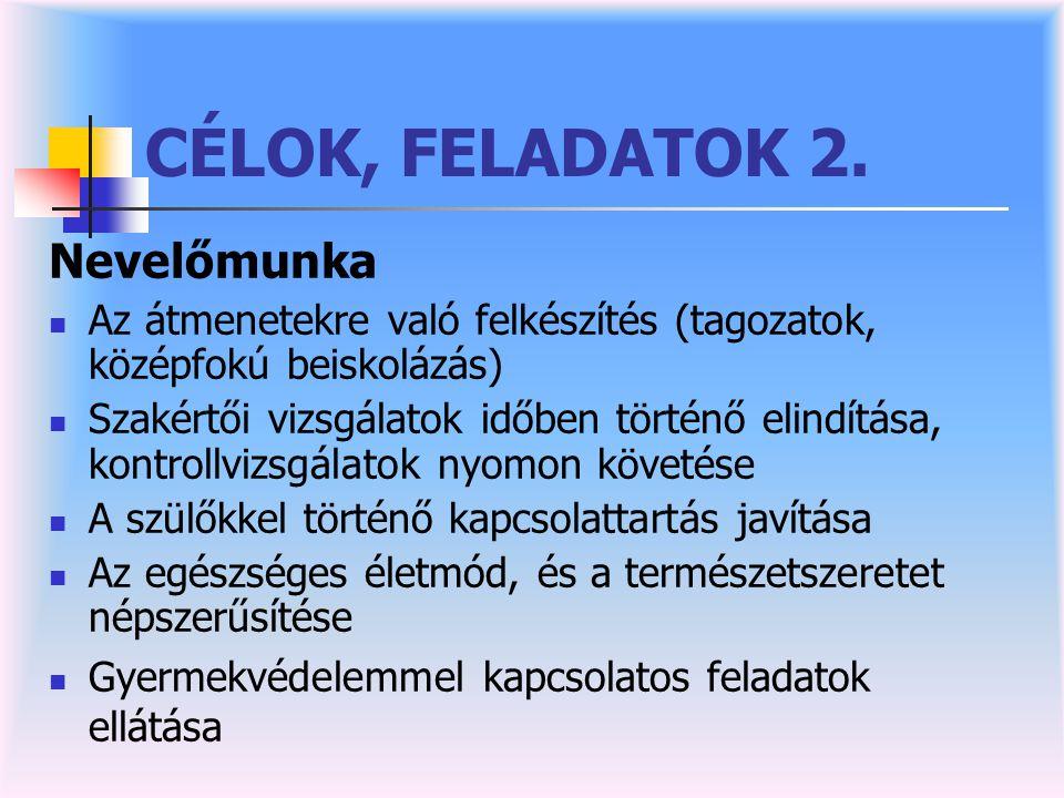 CÉLOK, FELADATOK 2. Nevelőmunka