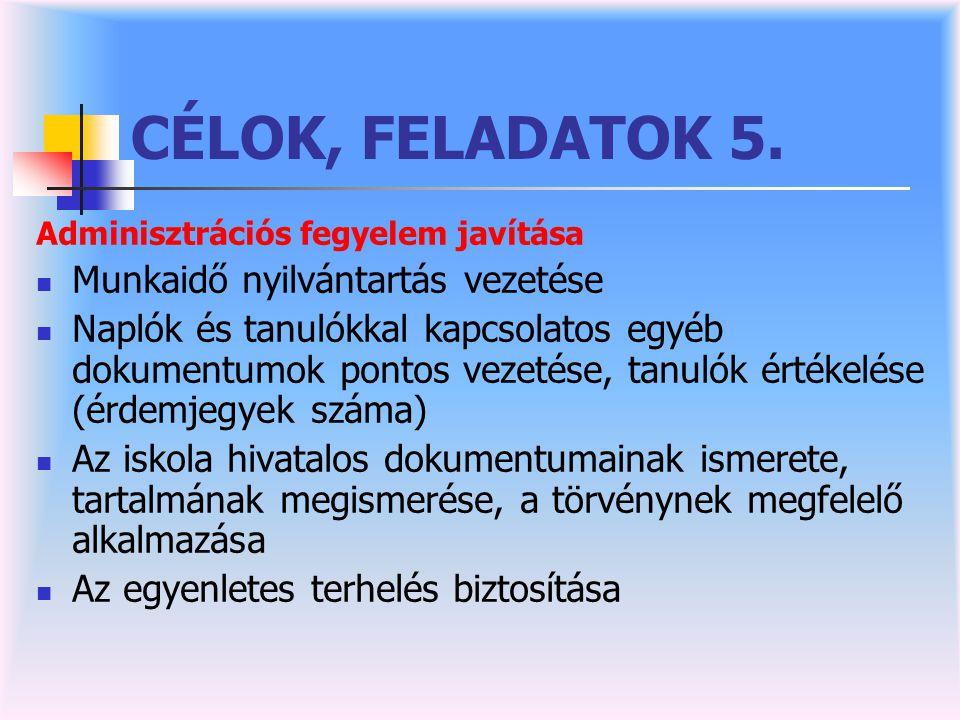 CÉLOK, FELADATOK 5. Munkaidő nyilvántartás vezetése