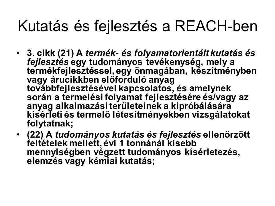 Kutatás és fejlesztés a REACH-ben