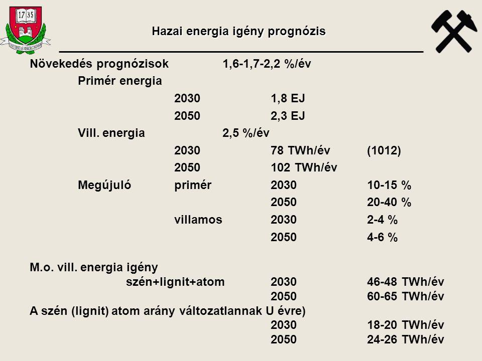 Hazai energia igény prognózis