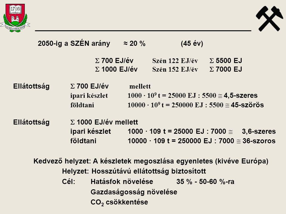 2050-ig a SZÉN arány ≈ 20 % (45 év)  700 EJ/év Szén 122 EJ/év  5500 EJ.  1000 EJ/év Szén 152 EJ/év  7000 EJ.
