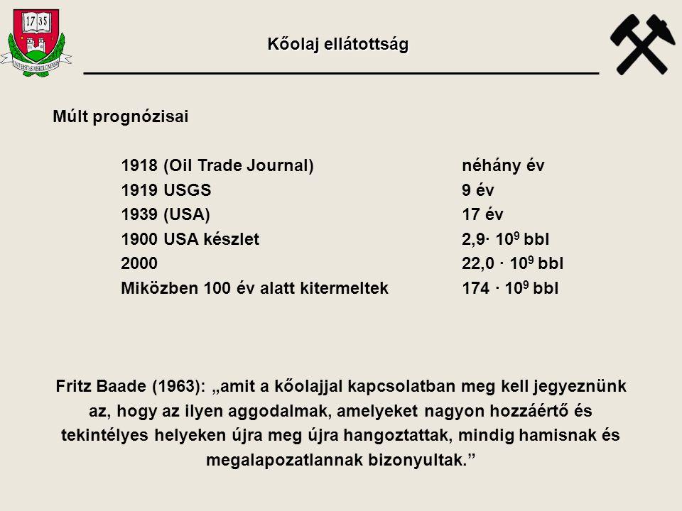 Kőolaj ellátottság Múlt prognózisai. 1918 (Oil Trade Journal) néhány év. 1919 USGS 9 év. 1939 (USA) 17 év.
