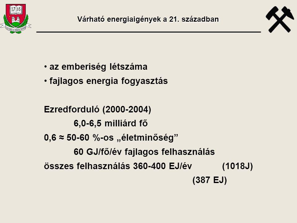 Várható energiaigények a 21. században