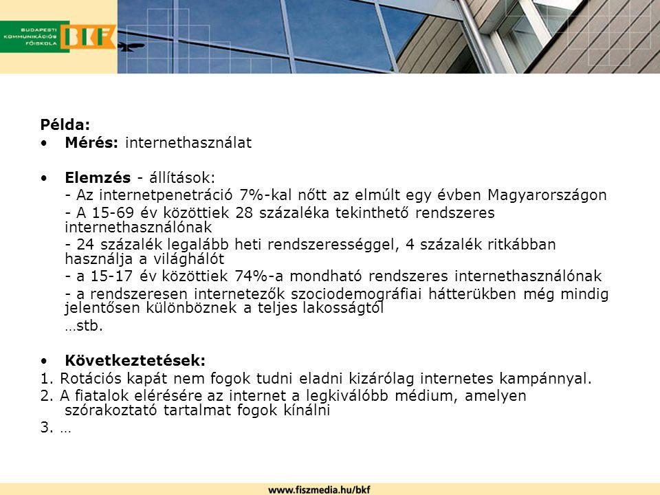 Példa: Mérés: internethasználat. Elemzés - állítások: - Az internetpenetráció 7%-kal nőtt az elmúlt egy évben Magyarországon.