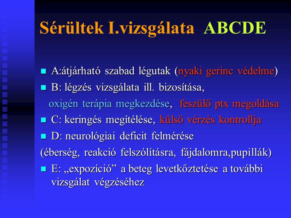 Sérültek I.vizsgálata ABCDE