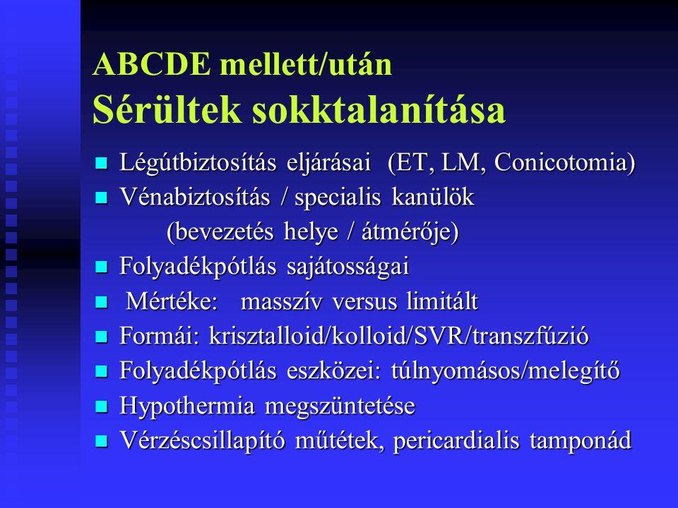 ABCDE mellett/után Sérültek sokktalanítása