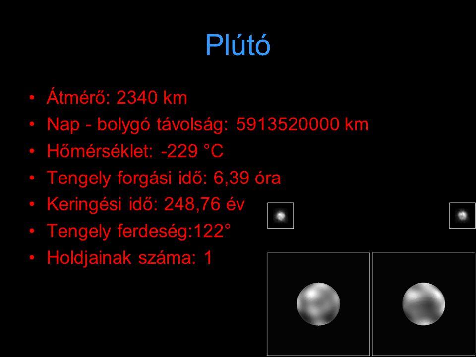 Plútó Átmérő: 2340 km Nap - bolygó távolság: 5913520000 km