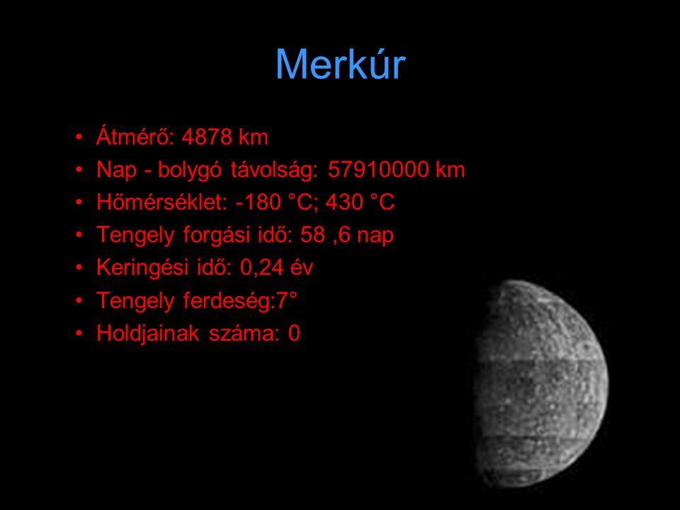 Merkúr Átmérő: 4878 km Nap - bolygó távolság: 57910000 km