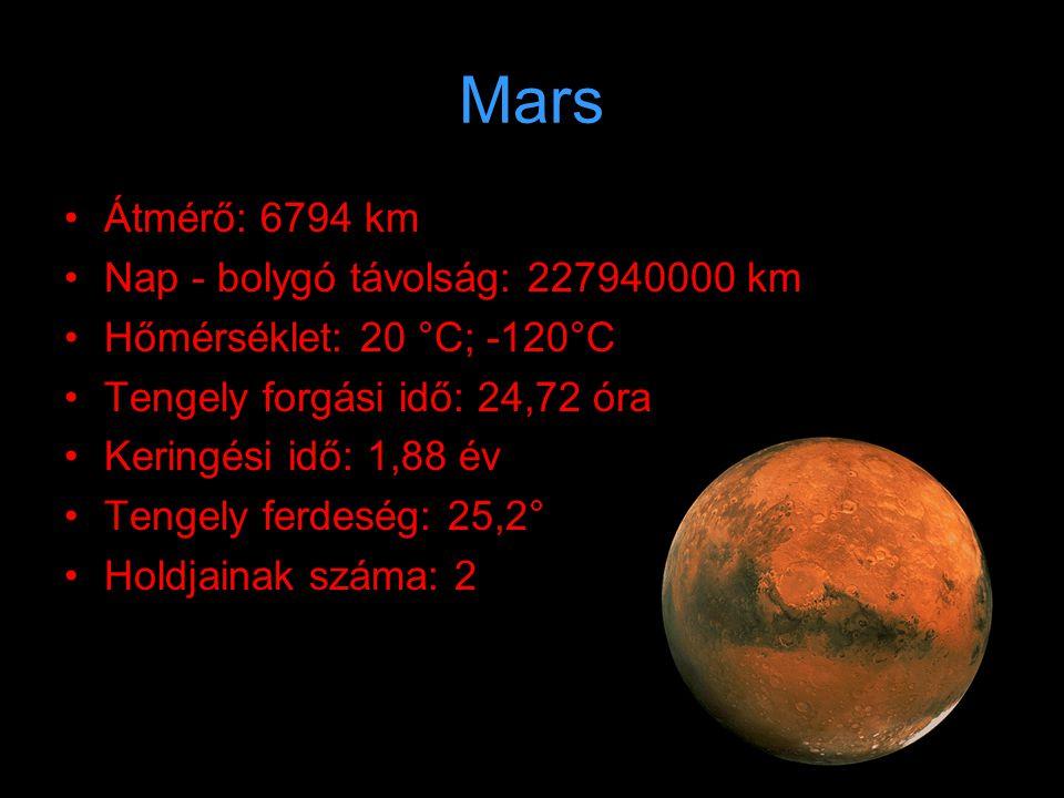 Mars Átmérő: 6794 km Nap - bolygó távolság: 227940000 km