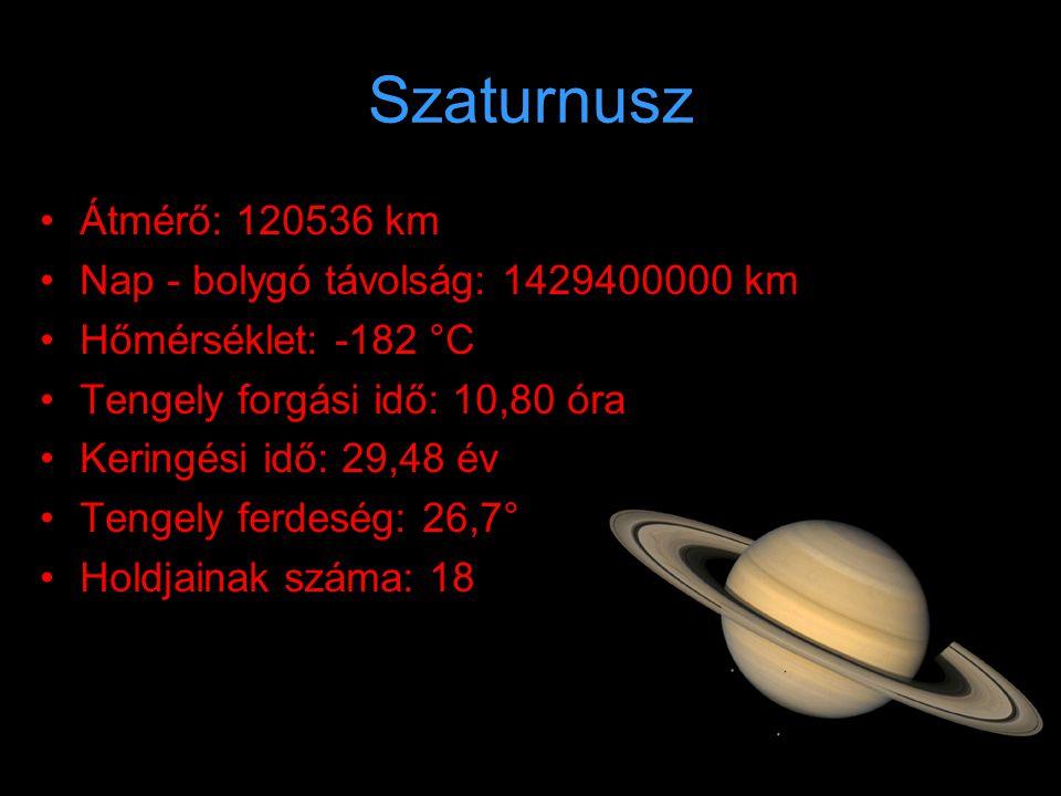 Szaturnusz Átmérő: 120536 km Nap - bolygó távolság: 1429400000 km