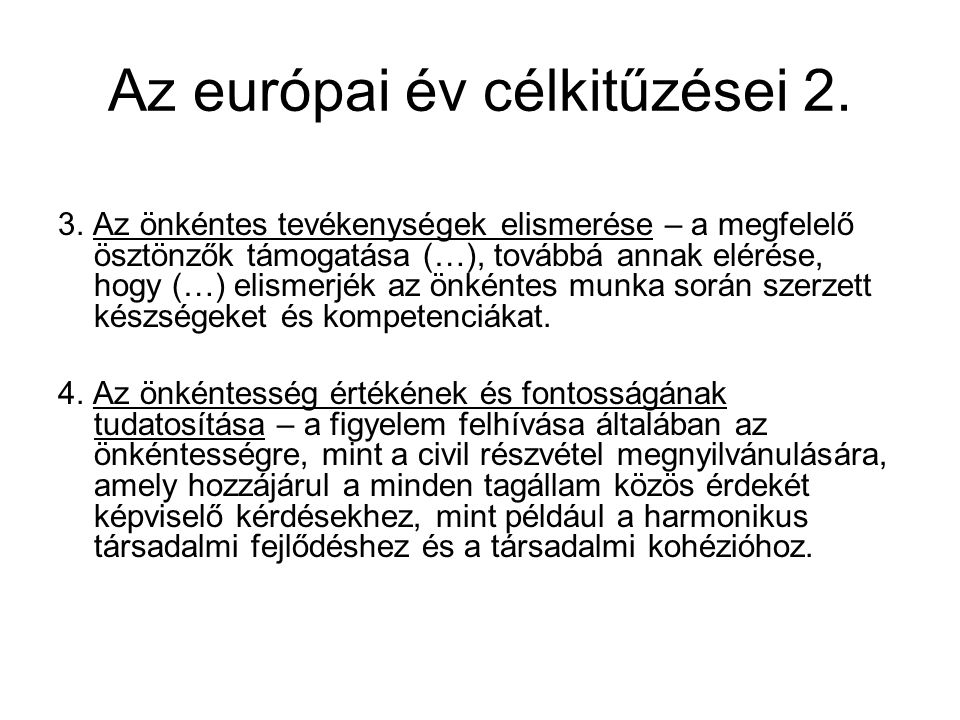 Az európai év célkitűzései 2.