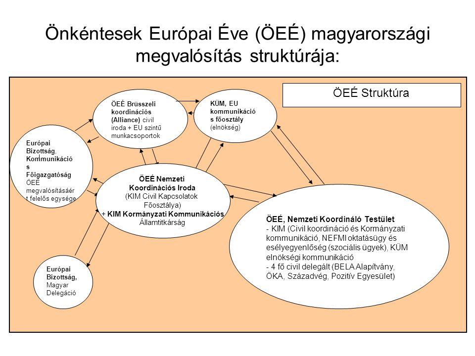 Önkéntesek Európai Éve (ÖEÉ) magyarországi megvalósítás struktúrája:
