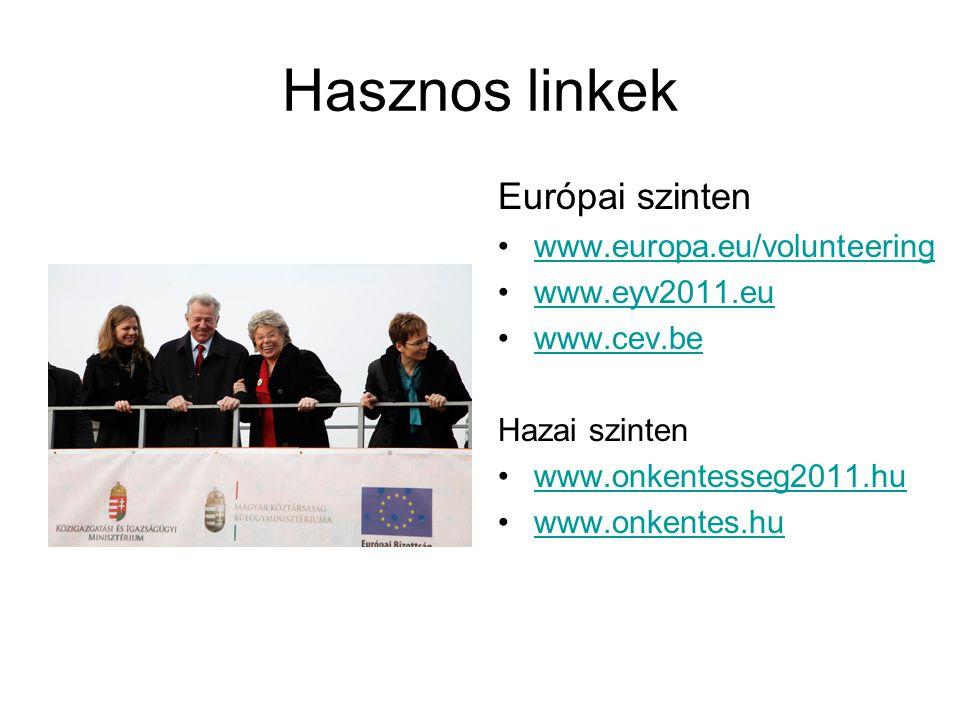 Hasznos linkek Európai szinten www.europa.eu/volunteering