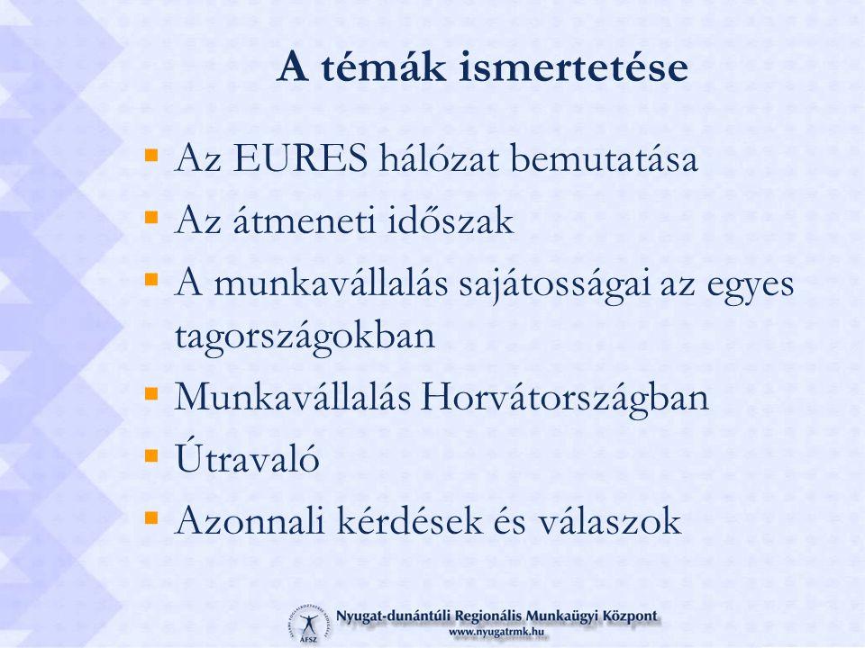 A témák ismertetése Az EURES hálózat bemutatása Az átmeneti időszak