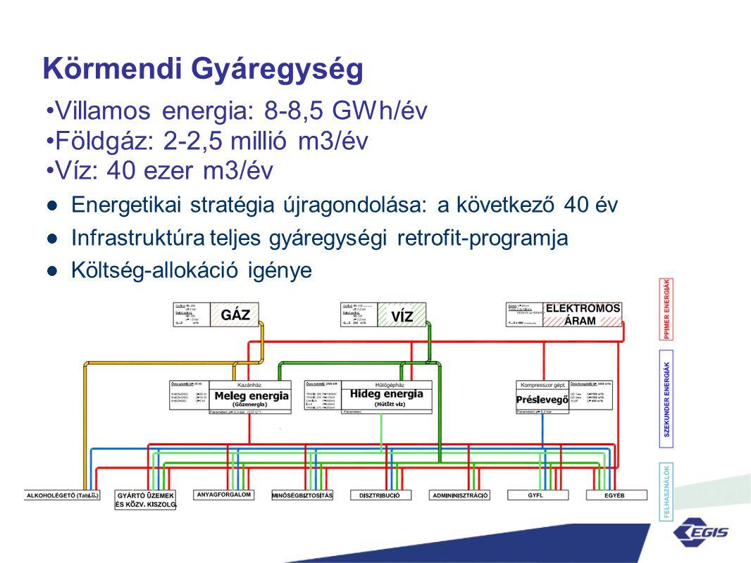 Körmendi Gyáregység Villamos energia: 8-8,5 GWh/év