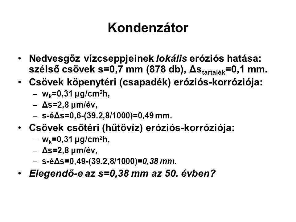 Kondenzátor Nedvesgőz vízcseppjeinek lokális eróziós hatása: szélső csövek s=0,7 mm (878 db), Δstartalék=0,1 mm.