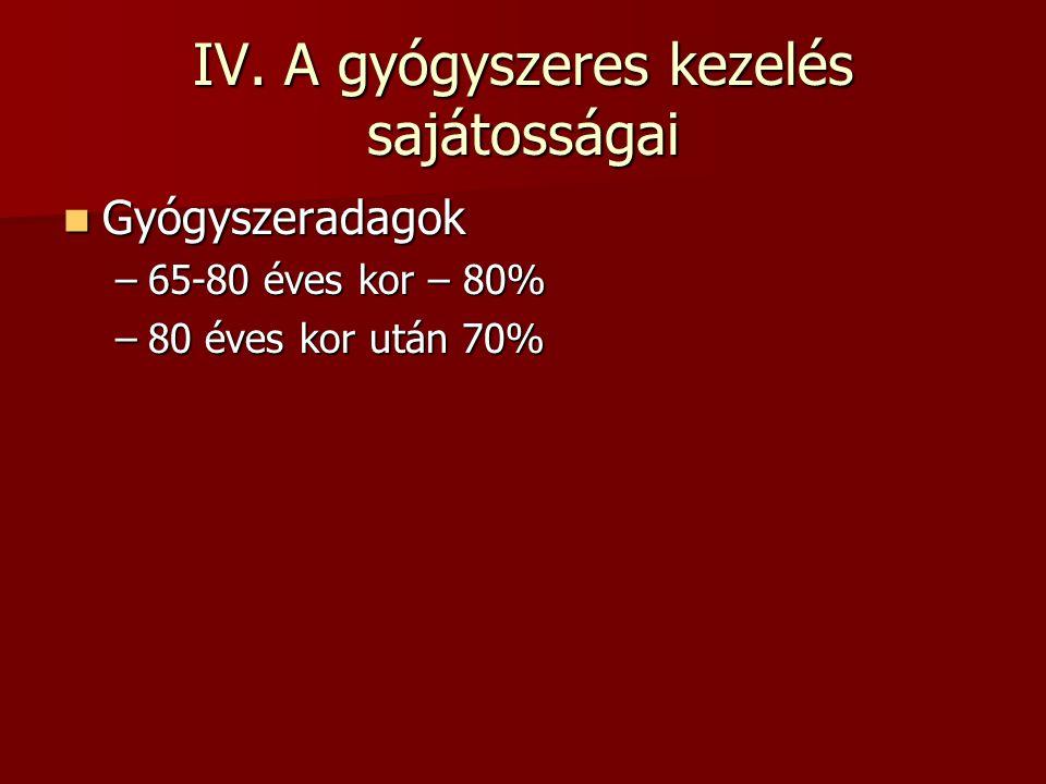 IV. A gyógyszeres kezelés sajátosságai