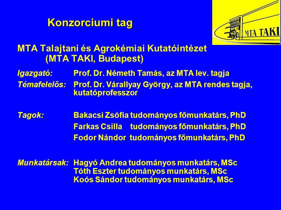 Konzorciumi tag MTA Talajtani és Agrokémiai Kutatóintézet