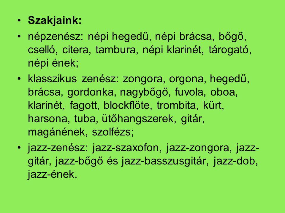 Szakjaink: népzenész: népi hegedű, népi brácsa, bőgő, cselló, citera, tambura, népi klarinét, tárogató, népi ének;