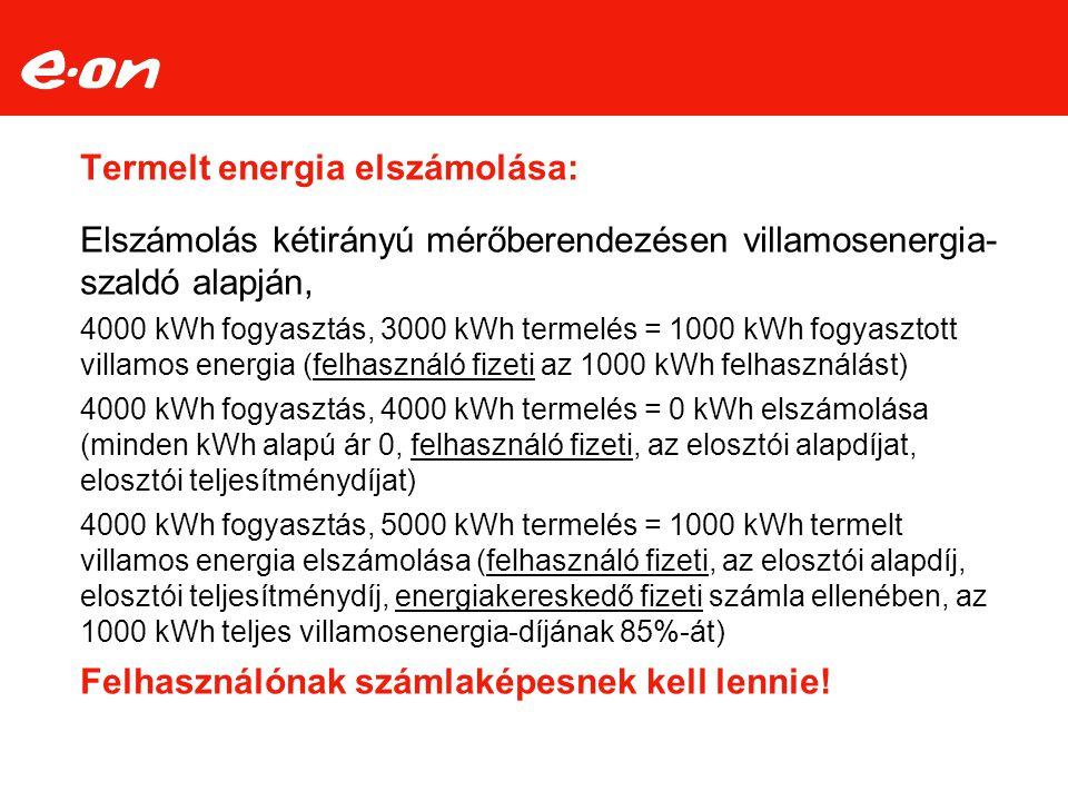 Termelt energia elszámolása: