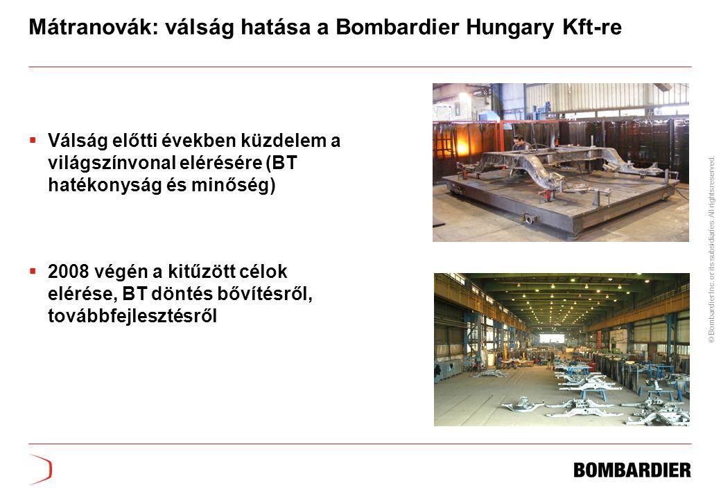 Mátranovák: válság hatása a Bombardier Hungary Kft-re