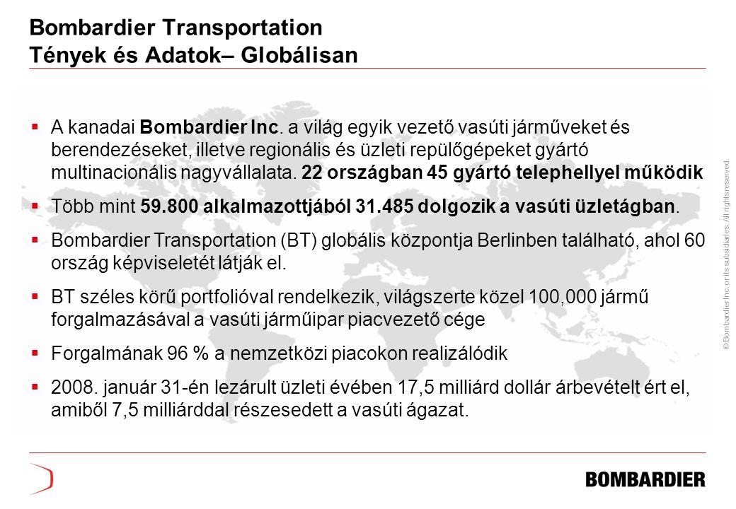 Bombardier Transportation Tények és Adatok– Globálisan