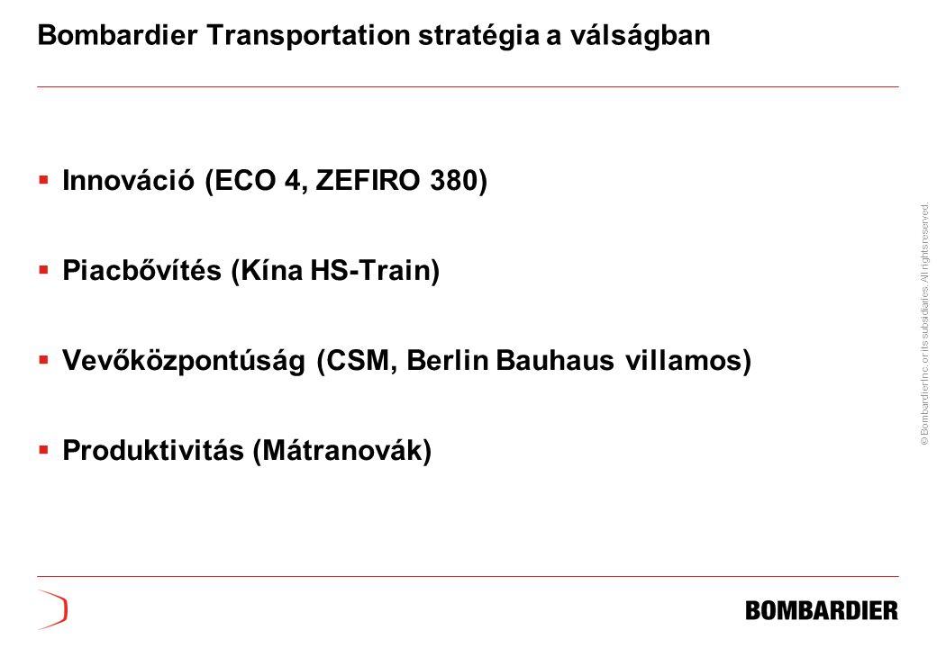 Bombardier Transportation stratégia a válságban