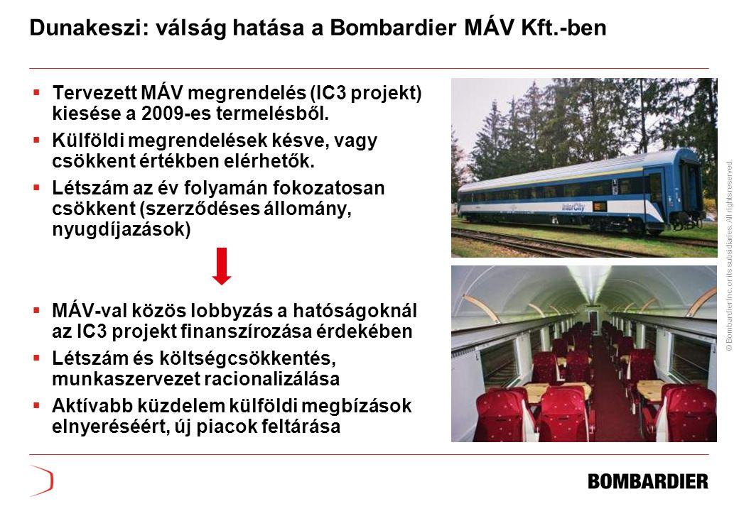 Dunakeszi: válság hatása a Bombardier MÁV Kft.-ben