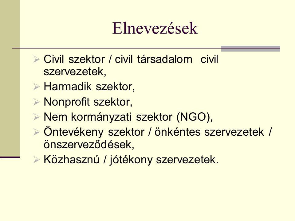 Elnevezések Civil szektor / civil társadalom civil szervezetek,