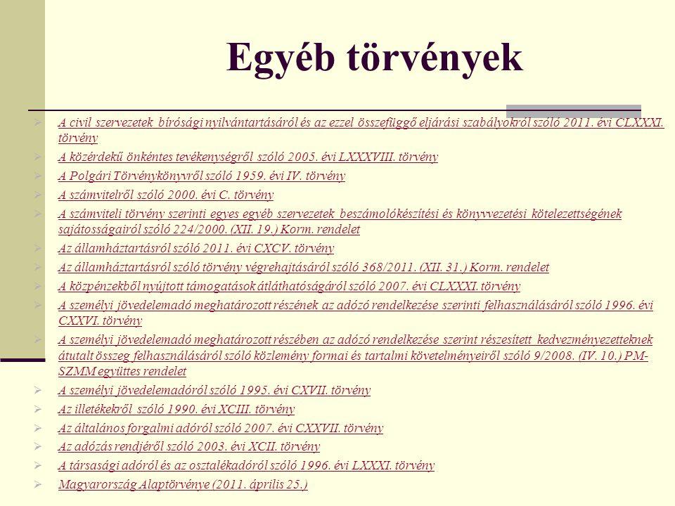 Egyéb törvények A civil szervezetek bírósági nyilvántartásáról és az ezzel összefüggő eljárási szabályokról szóló 2011. évi CLXXXI. törvény.
