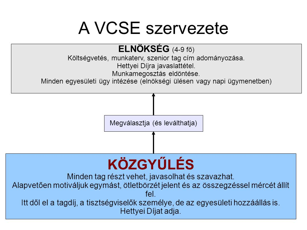 A VCSE szervezete KÖZGYŰLÉS ELNÖKSÉG (4-9 fő)