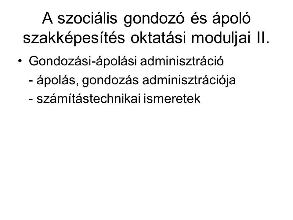 A szociális gondozó és ápoló szakképesítés oktatási moduljai II.