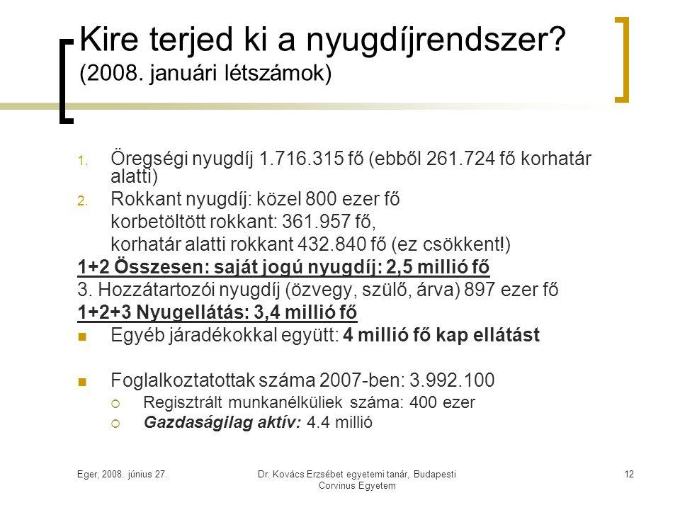 Kire terjed ki a nyugdíjrendszer (2008. januári létszámok)