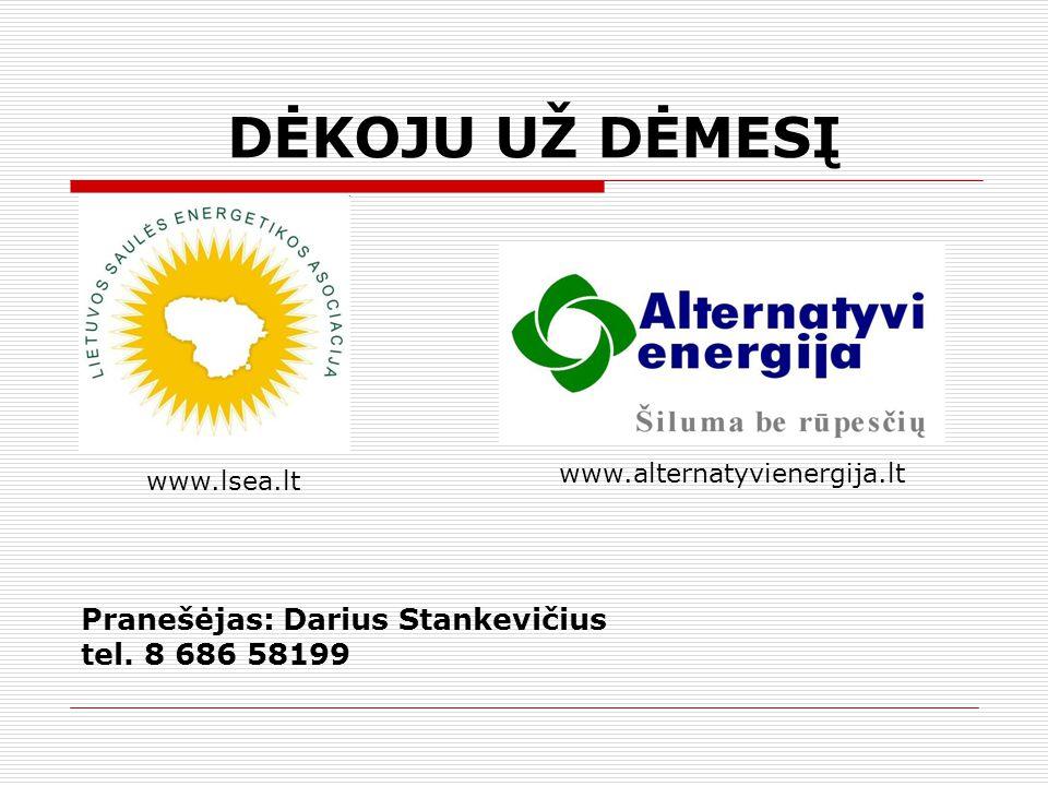 DĖKOJU UŽ DĖMESĮ Pranešėjas: Darius Stankevičius tel. 8 686 58199