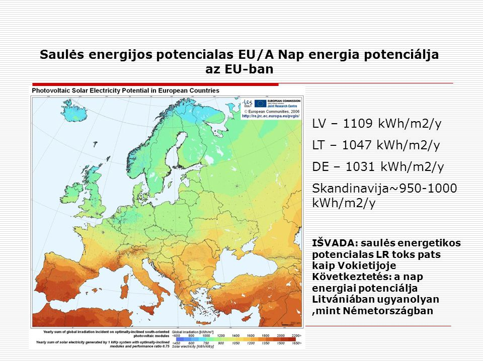 Saulės energijos potencialas EU/A Nap energia potenciálja az EU-ban