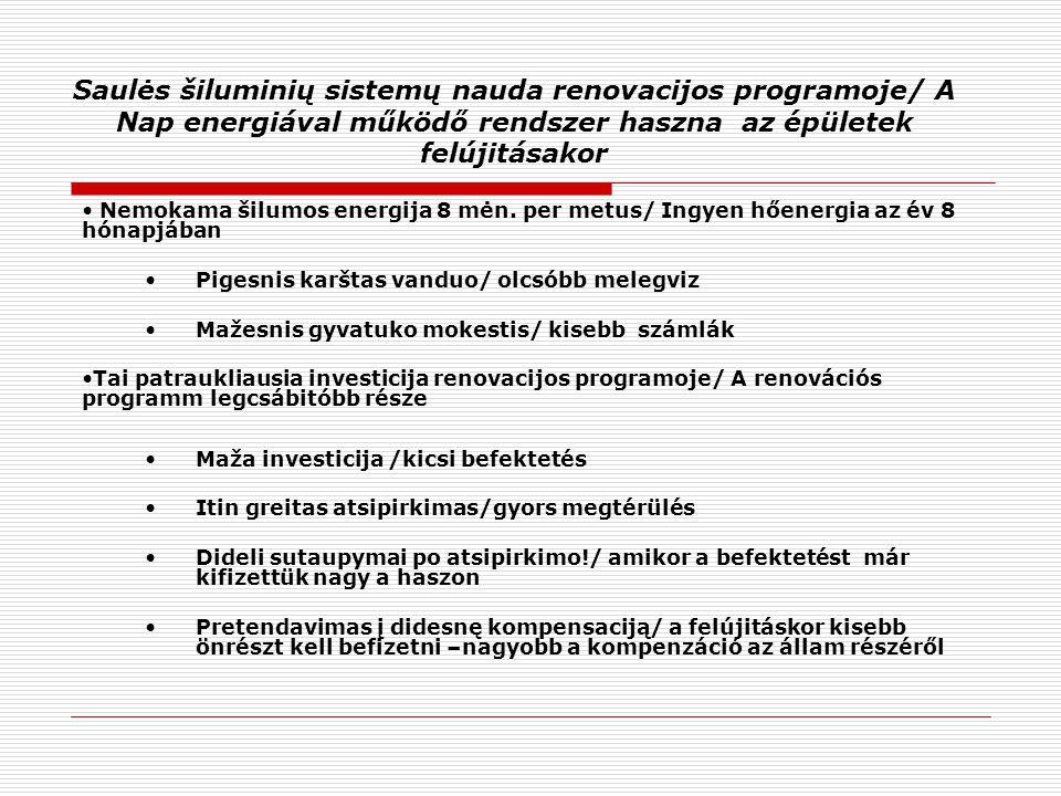 Saulės šiluminių sistemų nauda renovacijos programoje/ A Nap energiával működő rendszer haszna az épületek felújitásakor