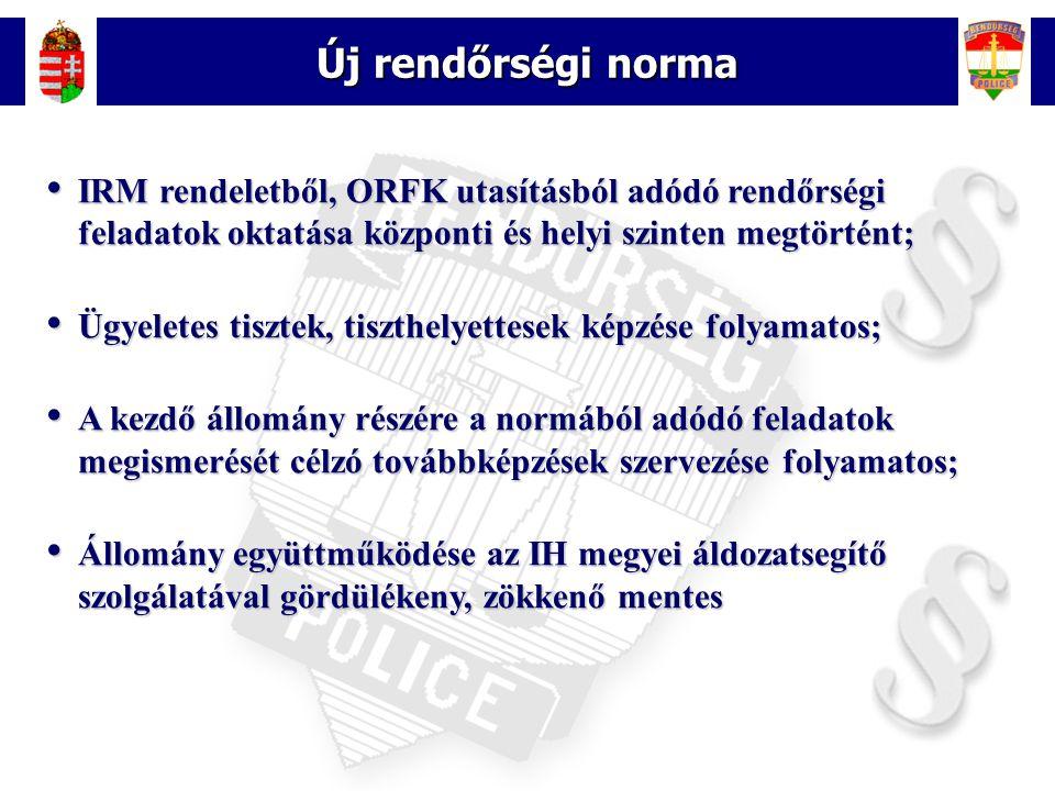 Új rendőrségi norma IRM rendeletből, ORFK utasításból adódó rendőrségi feladatok oktatása központi és helyi szinten megtörtént;