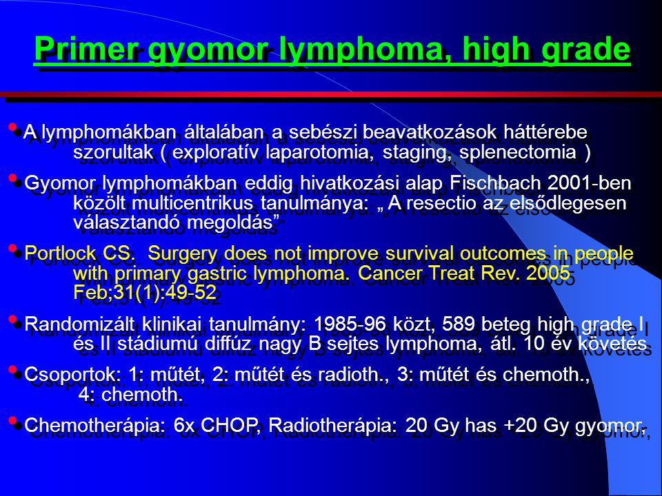 Primer gyomor lymphoma, high grade