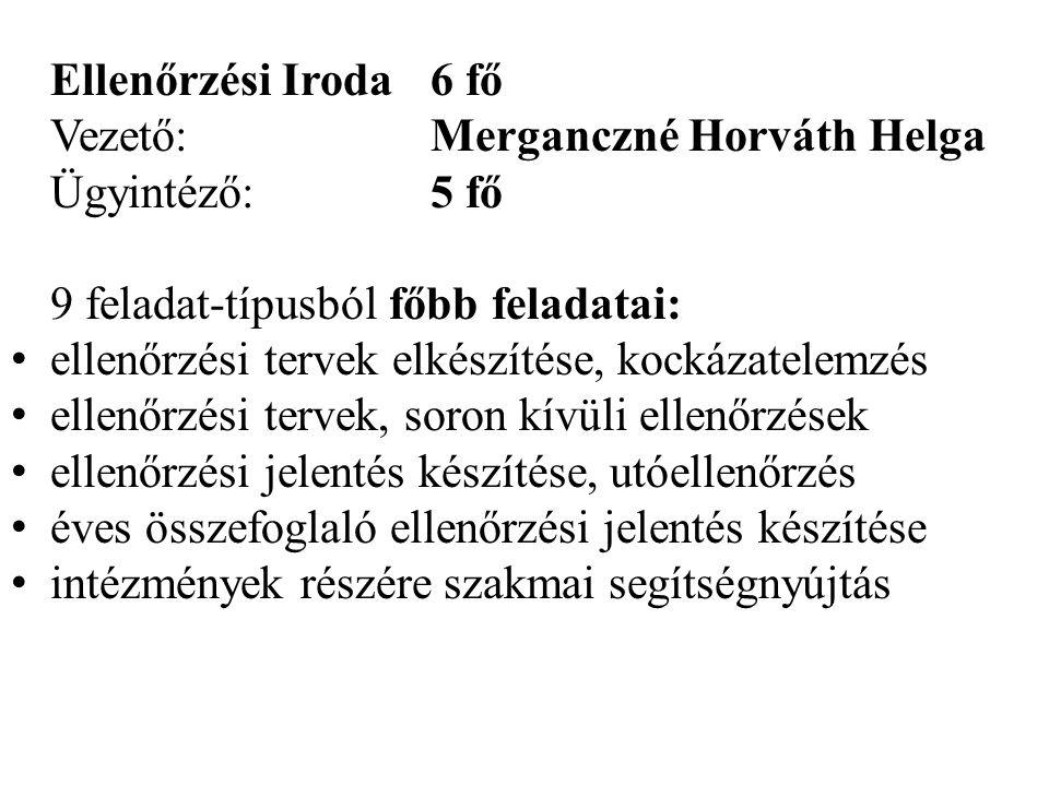 Ellenőrzési Iroda 6 fő Vezető: Merganczné Horváth Helga. Ügyintéző: 5 fő. 9 feladat-típusból főbb feladatai: