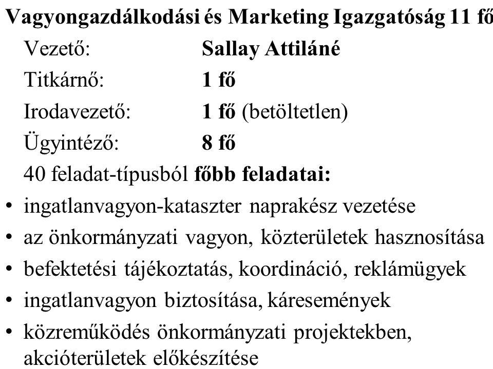 Vagyongazdálkodási és Marketing Igazgatóság 11 fő