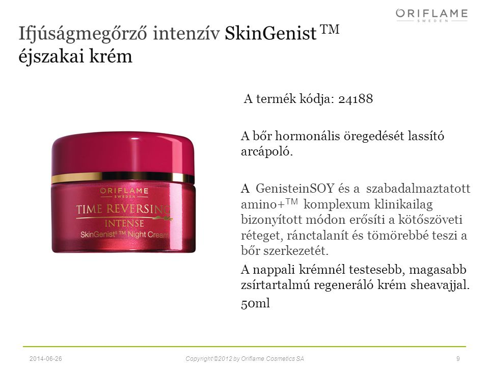 Ifjúságmegőrző intenzív SkinGenist TM éjszakai krém
