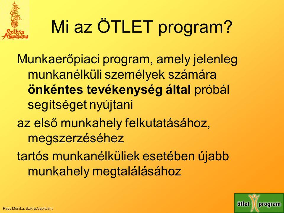 Mi az ÖTLET program Munkaerőpiaci program, amely jelenleg munkanélküli személyek számára önkéntes tevékenység által próbál segítséget nyújtani.