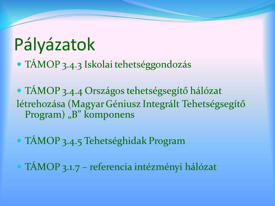 Pályázatok TÁMOP 3.4.3 Iskolai tehetséggondozás