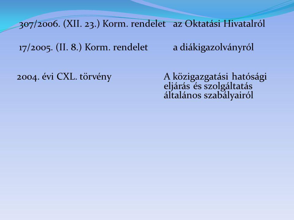 307/2006. (XII. 23.) Korm. rendelet az Oktatási Hivatalról
