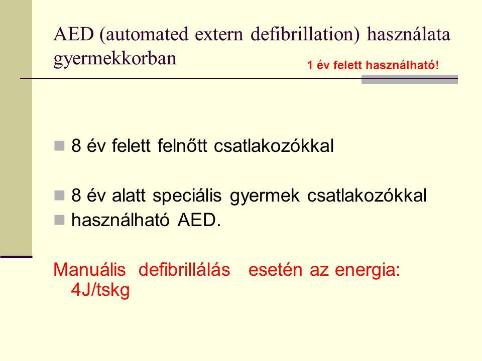 AED (automated extern defibrillation) használata gyermekkorban