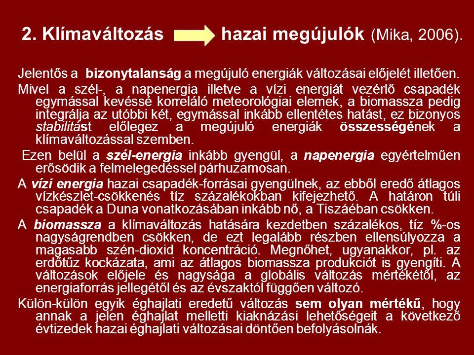 2. Klímaváltozás hazai megújulók (Mika, 2006).
