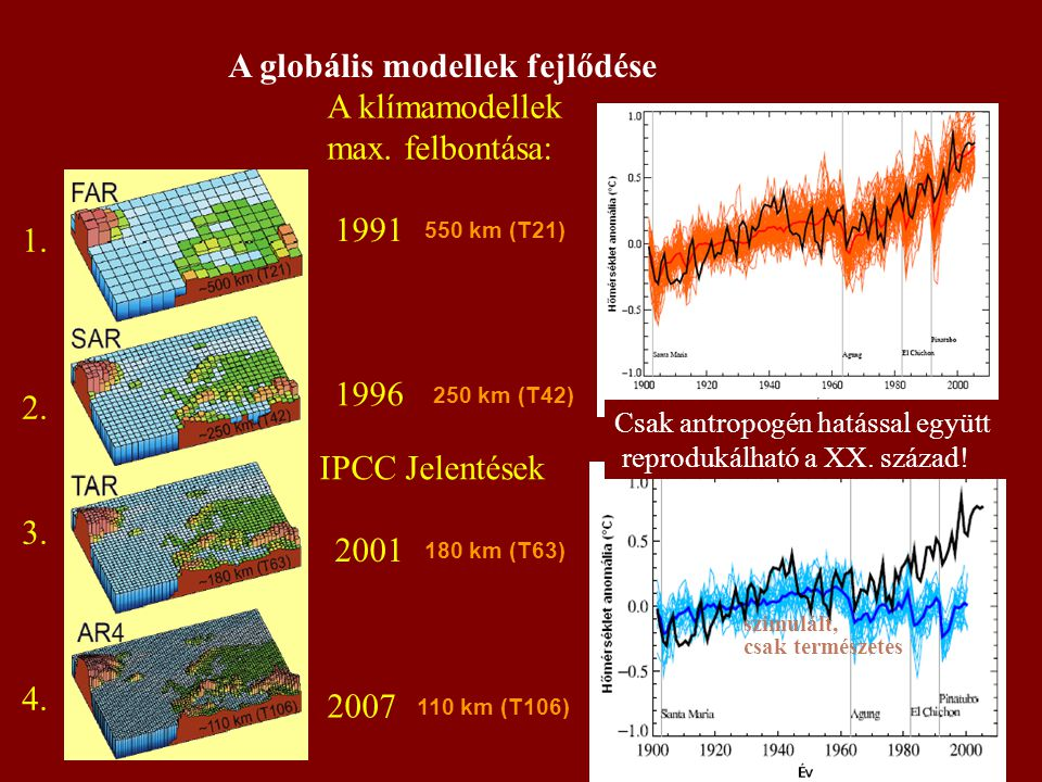 A globális modellek fejlődése A klímamodellek max. felbontása:
