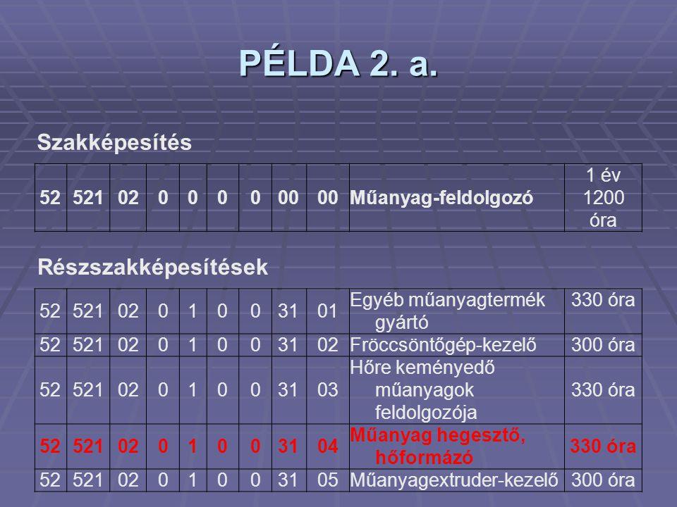PÉLDA 2. a. Szakképesítés Részszakképesítések 52 521 02 00